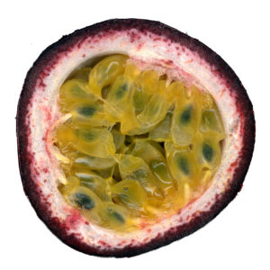Half of a passion fruit showing seeds